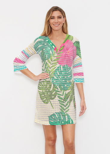 Wild Begonia (13489) ~ Banded 3/4 Sleeve Cover-up Dress