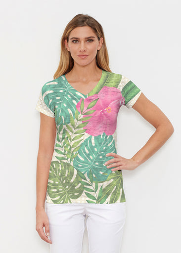 Wild Begonia (13489) ~ Signature Cap Sleeve V-Neck Shirt