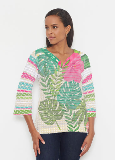 Wild Begonia (13489) ~ Banded 3/4 Bell-Sleeve V-Neck Tunic