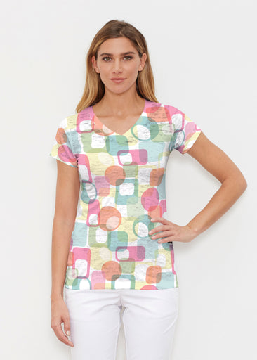 Mandala Geo (13495) ~ Signature Cap Sleeve V-Neck Shirt