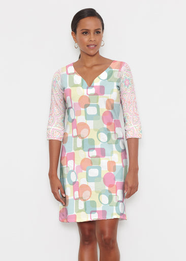 Mandala Geo (13495) ~ Classic 3/4 Sleeve Sweet Heart V-Neck Dress
