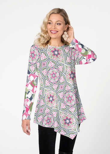 Mandala Geo Blue (13503) ~ Asymmetrical French Terry Tunic