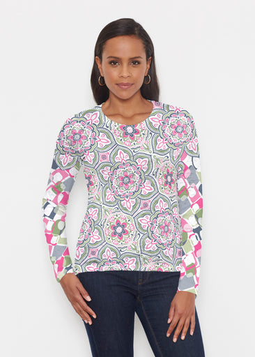 Mandala Geo Blue (13503) ~ Signature Long Sleeve Crew Shirt
