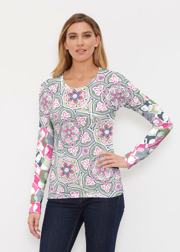 Mandala Geo Blue  (13503) ~ Thermal Long Sleeve Crew Shirt