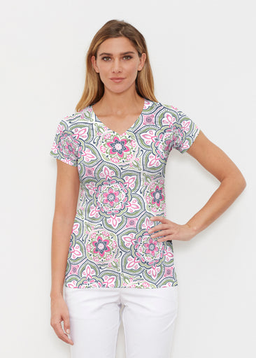 Mandala Geo Blue (13503) ~ Signature Cap Sleeve V-Neck Shirt