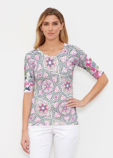 Mandala Geo Blue (13503) ~ Elbow Sleeve Crew Shirt