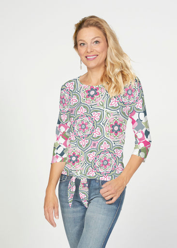 Mandala Geo Blue (13503) ~ French Terry Tie 3/4 Sleeve Top