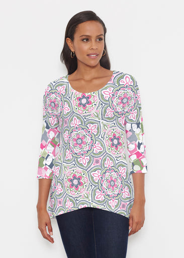 Mandala Geo Blue (13503) ~ Katherine Hi-Lo Thermal Tunic