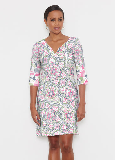 Mandala Geo Blue (13503) ~ Classic 3/4 Sleeve Sweet Heart V-Neck Dress