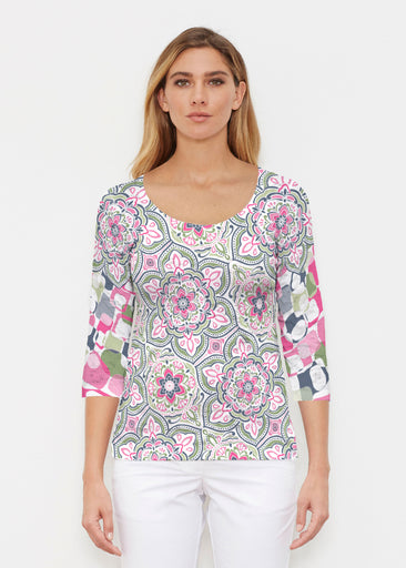 Mandala Geo Blue (13503) ~ Signature 3/4 Sleeve Scoop Shirt