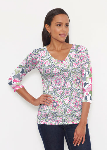 Mandala Geo Blue  (13503) ~ Signature 3/4 V-Neck Shirt