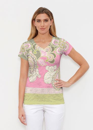 Koala Pink (13523) ~ Signature Cap Sleeve V-Neck Shirt