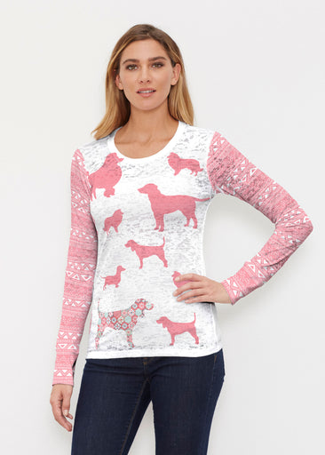 Dogs Coral (13527) ~ Thermal Long Sleeve Crew Shirt