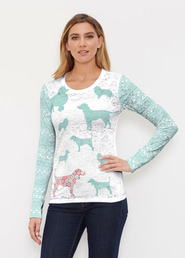 Dogs Seagreen (13528) ~ Thermal Long Sleeve Crew Shirt