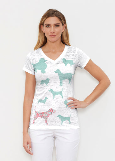 Dogs Seagreen (13528) ~ Signature Cap Sleeve V-Neck Shirt