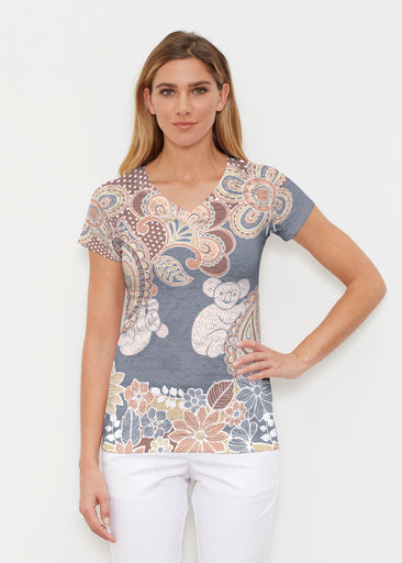 Koala Navy (13529) ~ Signature Cap Sleeve V-Neck Shirt