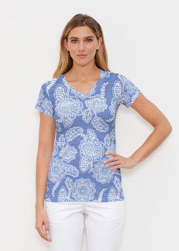 Floral Sunshine (13533) ~ Signature Cap Sleeve V-Neck Shirt