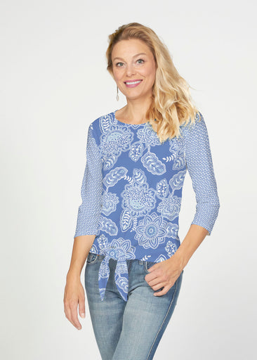 Floral Sunshine (13533) ~ French Terry Tie 3/4 Sleeve Top
