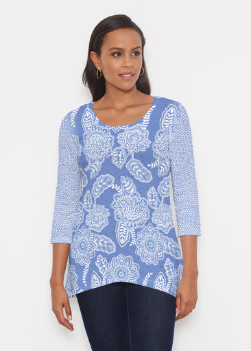 Floral Sunshine (13533) ~ Katherine Hi-Lo Thermal Tunic