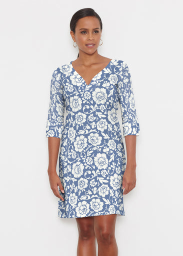 Traditional Navy (14135) ~ Classic 3/4 Sleeve Sweet Heart V-Neck Dress