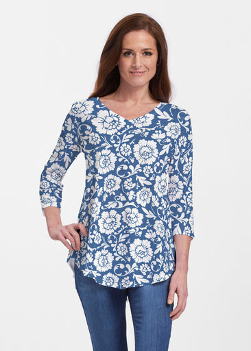 Traditional Navy (14135) ~ Signature V-neck Flowy Tunic