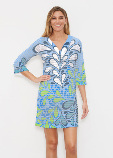 Flume Aqua (14149) ~ Banded 3/4 Sleeve Cover-up Dress