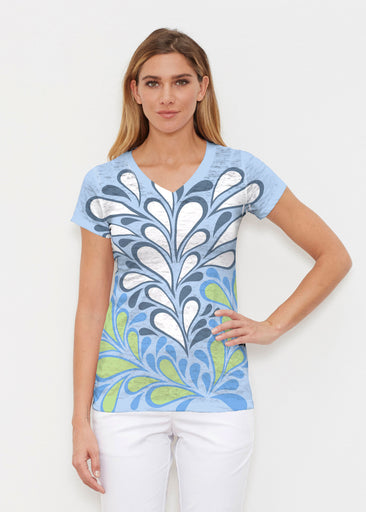 Flume Aqua (14149) ~ Signature Cap Sleeve V-Neck Shirt