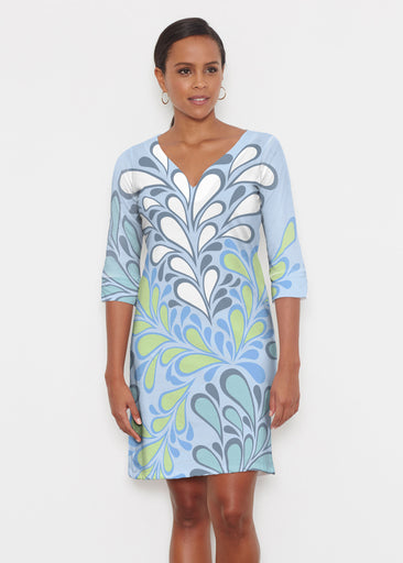 Flume Aqua (14149) ~ Classic 3/4 Sleeve Sweet Heart V-Neck Dress