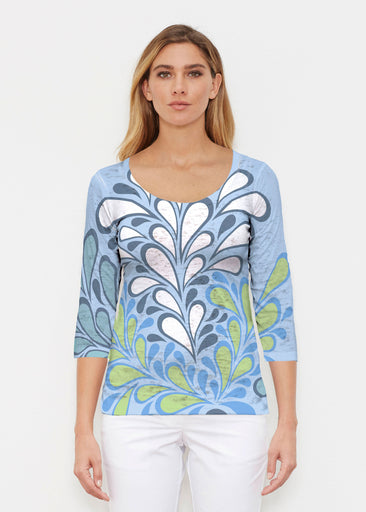 Flume Aqua (14149) ~ Signature 3/4 Sleeve Scoop Shirt
