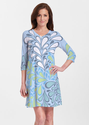Flume Aqua (14149) ~ V-neck Swing Dress
