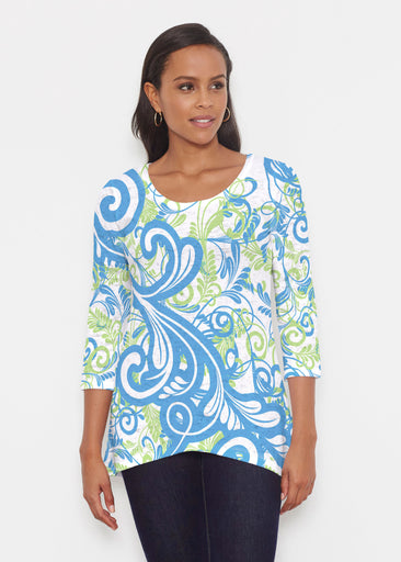 Spiraling Lime (14159) ~ Katherine Hi-Lo Thermal Tunic