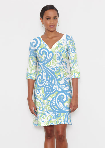Spiraling Lime (14159) ~ Classic 3/4 Sleeve Sweet Heart V-Neck Dress