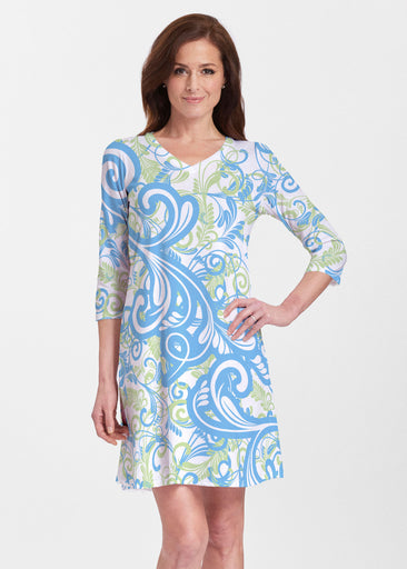 Spiraling Lime (14159) ~ V-neck Swing Dress