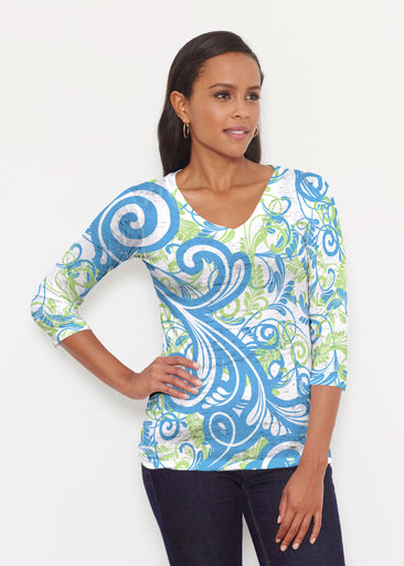 Spiraling Lime (14159) ~ Signature 3/4 V-Neck Shirt