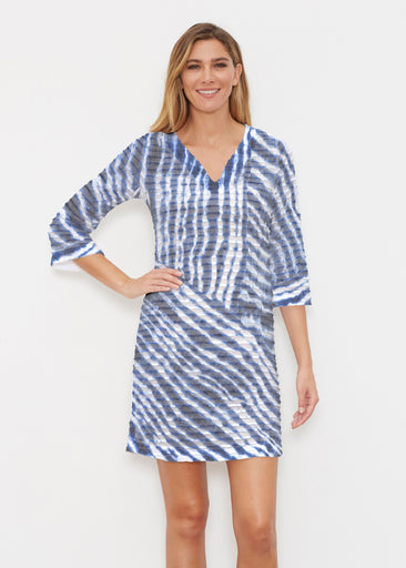 Tie-Dye Ripple (14183) ~ Banded 3/4 Sleeve Cover-up Dress