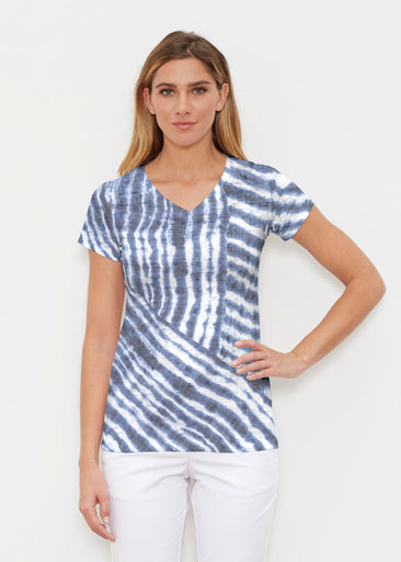 Tie-Dye Ripple (14183) ~ Signature Cap Sleeve V-Neck Shirt