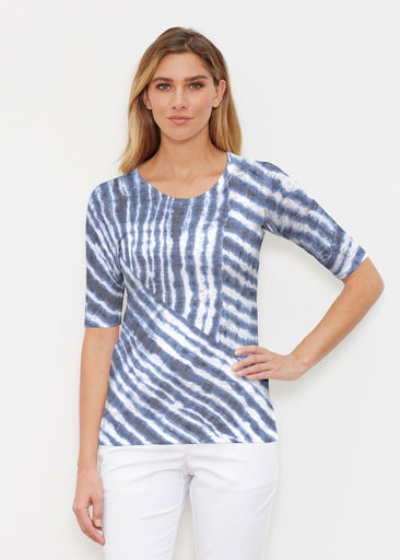 Tie-Dye Ripple (14183) ~ Elbow Sleeve Crew Shirt