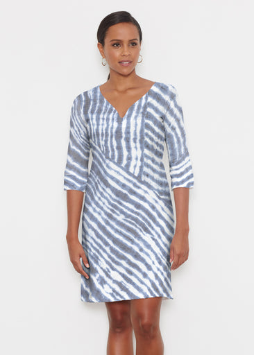 Tie-Dye Ripple (14183) ~ Classic 3/4 Sleeve Sweet Heart V-Neck Dress