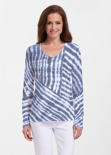 Tie-Dye Ripple (14183) ~ Thermal Long Sleeve V-Neck Shirt