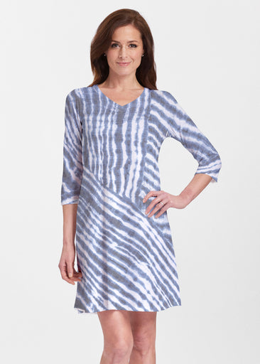 Tie-Dye Ripple (14183) ~ Classic V-neck Swing Dress