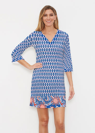 Mod Dot RWB (14195) ~ Banded 3/4 Sleeve Cover-up Dress