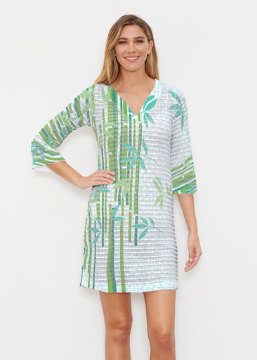 Bamboo Leaves (14197) ~ Banded 3/4 Sleeve Cover-up Dress