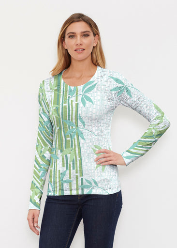 Bamboo Leaves (14197) ~ Thermal Long Sleeve Crew Shirt