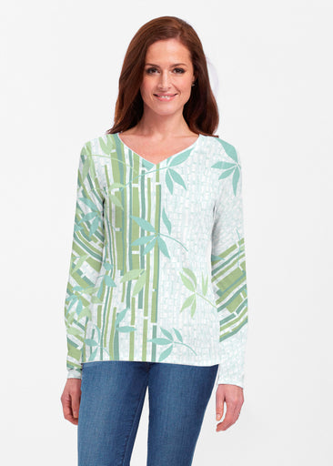 Bamboo Leaves (14197) ~ Classic V-neck Long Sleeve Top
