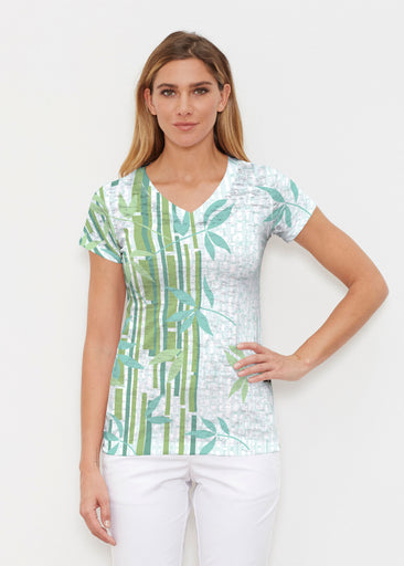 Bamboo Leaves (14197) ~ Signature Cap Sleeve V-Neck Shirt