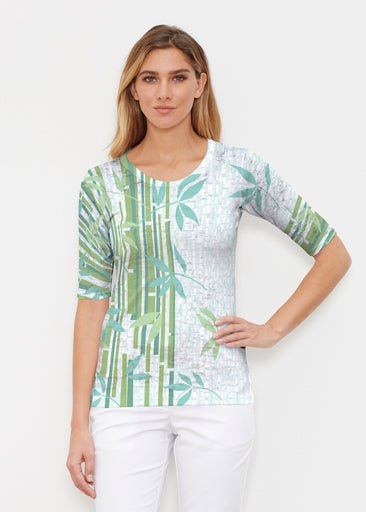 Bamboo Leaves (14197) ~ Elbow Sleeve Crew Shirt