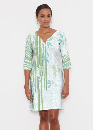 Bamboo Leaves (14197) ~ Classic 3/4 Sleeve Sweet Heart V-Neck Dress