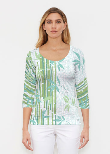 Bamboo Leaves (14197) ~ Signature 3/4 Sleeve Scoop Shirt