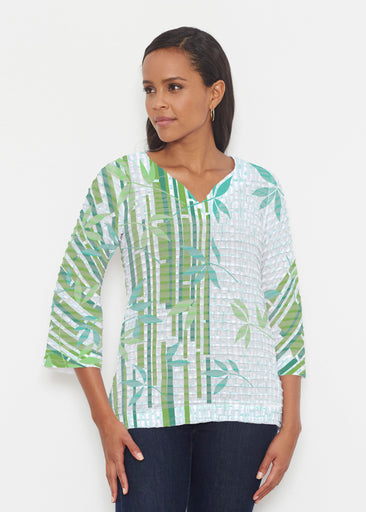 Bamboo Leaves (14197) ~ Banded 3/4 Bell-Sleeve V-Neck Tunic