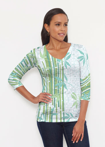 Bamboo Leaves (14197) ~ Signature 3/4 V-Neck Shirt